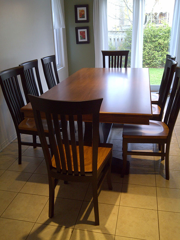 Solid Wood Double Pedestal Maple Dining Set